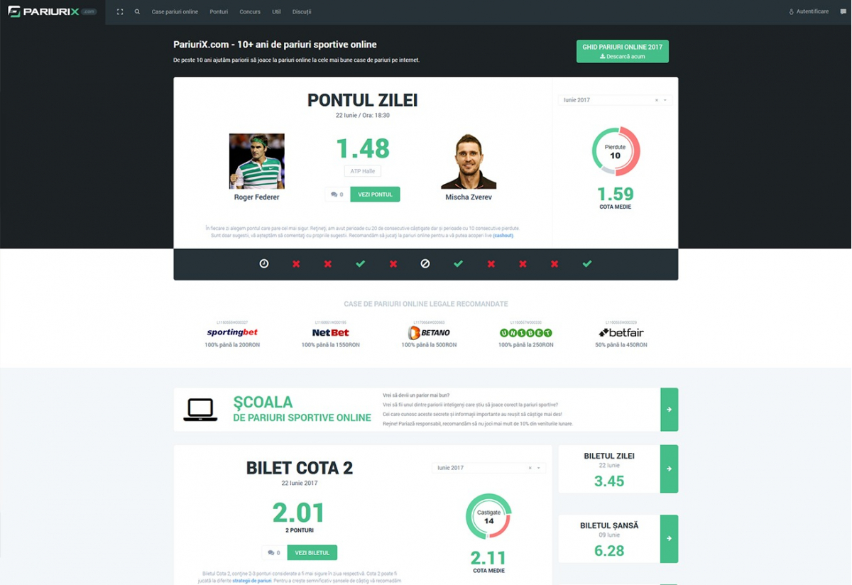 Online platform with bookmakers and betting tips - PariuriX