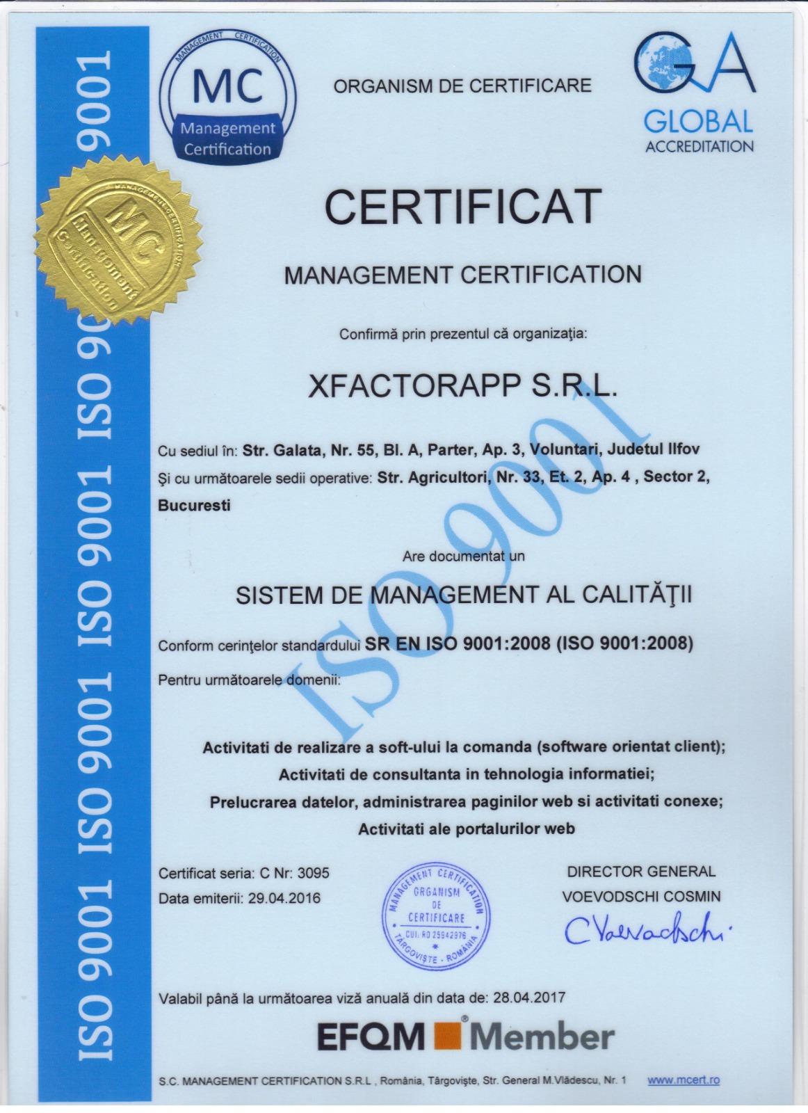certificat de management al calitatii