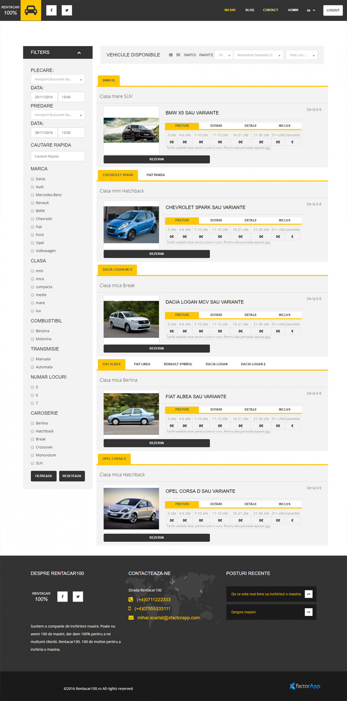 Website and Application for Car Rental Company - Rentacar100