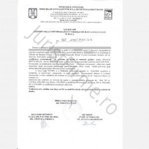 Certificat de Conformitate emis de DSP