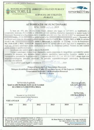 Autorizația de Funcțiionare Sector 1