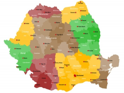 Transylvania Region Coloured In Brown On Romanian Map, Credits:  Malachy120/Bigstock.com