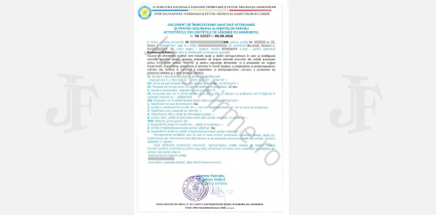 Document de Înregistrare Sanitară Veterinară
