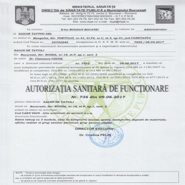 Autorizație Sanitară de Funcționare Macavei