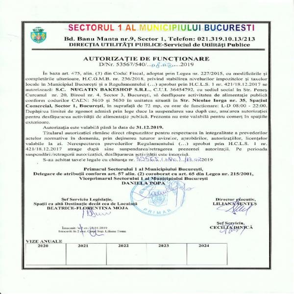Autorizatie de Functionare Sector 1