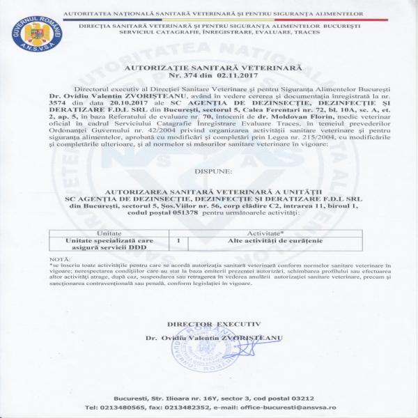Autorizatie DSV Agentia DDD