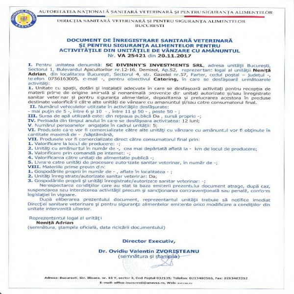 Autorizatia DSV Divinny's Investments SRL