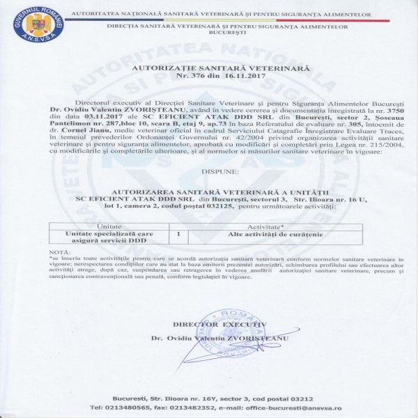 Autorizatie DSV Eficient Atak DDD SRL