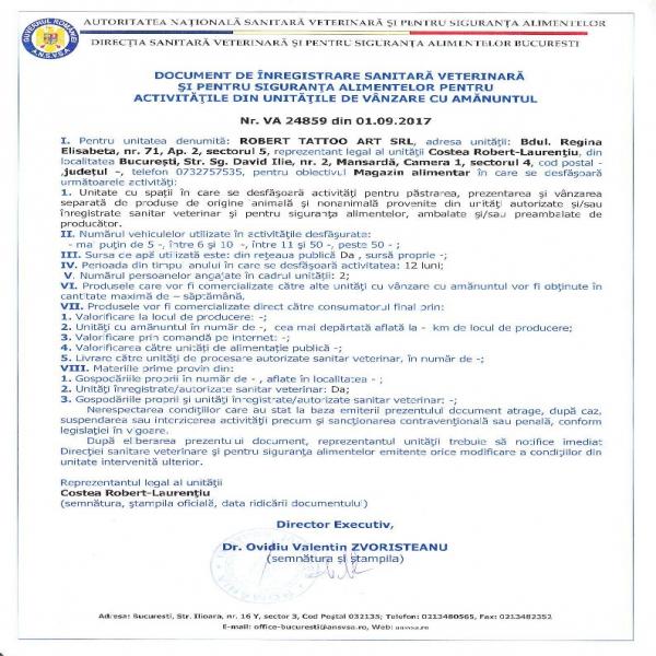 Autorizatie DSV Robert Tattoo SRL