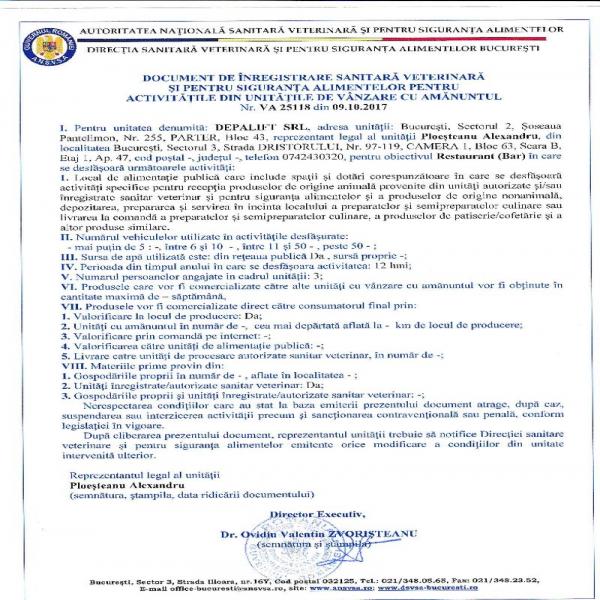 Autorizatie DSV Depalift SRL