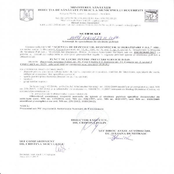 Notificare DSP Agentia DDD FDL srl