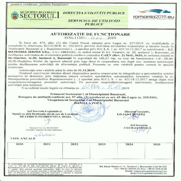 Autorizatia de Functionare Sector 1 Matrioska