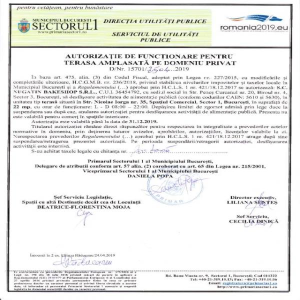 Autorizatie terasa Nugatin 2019